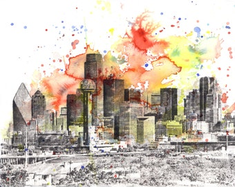 Dallas Texas Cityscape Skyline Abstract Landscape Art Print From Original Watercolor Painting 22 x 17 in Large Wall Art Print