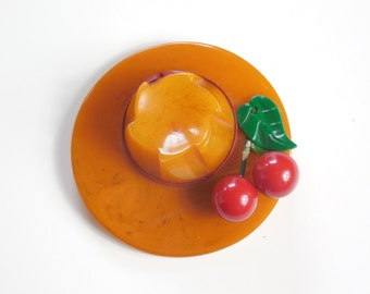 1930s 1940s Huge Vintage Bakelite Pin Brooch Butterscotch Marbled Hat Brooch with Cherries Rare