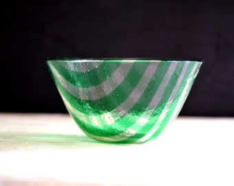 Transparent emerald Green Glass Bowl with stripes
