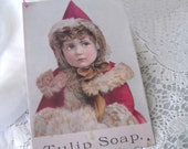 "vintage tin ""Tulip Soap"" Christmas/Winter design hanging sign"