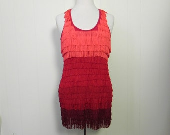 Vintage Dress Red Ombre Tassel Fringe Shimmy Dress - on sale