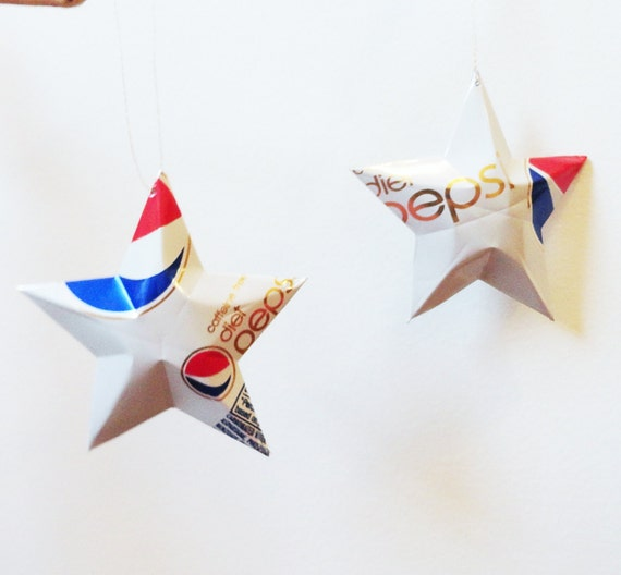 DIET Caffeine Free Pepsi Stars Christmas Ornaments Soda Can Upcycled Repurposed Pepsi-cola