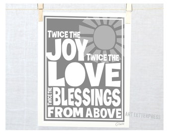 TWINS Wall Art,Baby Nursery, Quotes about Twins Poster, Twice the Joy