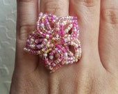 Pinky Ring - Mixed Pink French Beaded Flower Filigree Ring
