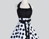 Flirty Chic Apron , Sexy Womens Apron in Black and White Jumbo Dot