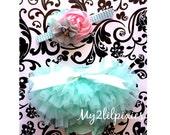Baby Bloomer and Headband Set- Ruffle Bum Baby Bloomer, mint tutu bum bloomer,cake smash,newborn bloomer, baby girl photo prop,