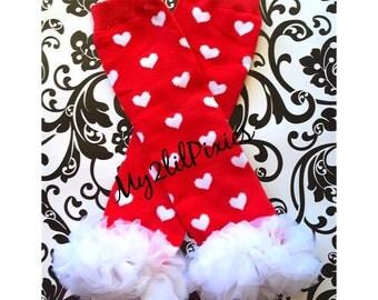 Valentine Leg warmers , ready to ship, heart LEG WARMERS , Red with White heart Leg warmers,  Baby Girl Leg warmers, Ruffle Leg warmers