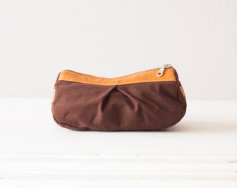 Cosmetic bag, makeup case in brown cotton canvas and light brown leather - Estia Bag
