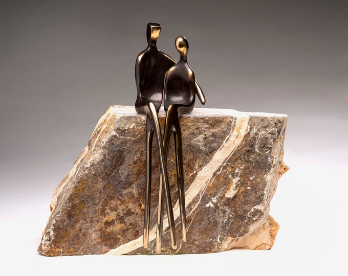 EXQUISITE WEDDING anniversary, finely-polished bronze sculpture by Yenny Cocq from Santa Fe, Henry Moore King and Queen are my inspiration