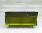 Mid Century Modern Record Cabinet TV Table Media Table w/ Sound Bar/Receiver Shelf Stand Entertainment Cabinet, MCM