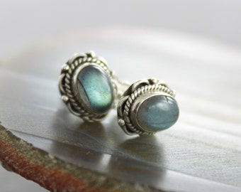 Ornamented gemstone labradorite stud sterling silver earrings - Stud earrings - Gemstone earrings - Post earrings - ER021