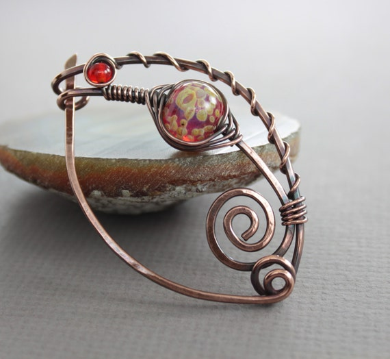 Shawl pin, scarf pin in swirly ornate shape with lampwork and Czech glass beads