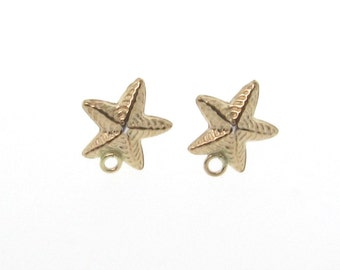 14K Gold Filled StarfishPost Earrings With Loop - 1 Pair of Stud Earrings With Backings, MADE IN USA, Lead and Nickel Free