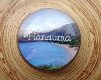 "Hanauma Bay Honolulu Hawaii Glass Fridge Magnet 1.4"" Oahu Island Hawaiian Refrigerator"