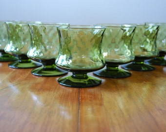 Seven Avocado Green Optic Swirl Glasses - Optic Diamond  - Quilted  - 1970's - Modern - Retro