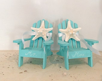 Beach Wedding Cake Topper - 2 Mini Adirondack Chairs with Starfish -  6 Chair Colors - 23 Ribbon Choices - Beach Theme/Mr. and Mrs.