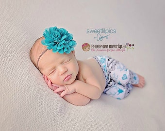 Teal Flower Headband, Emma Petal, Newborn Headband, Baby Headband, Infant Headband, Photo Prop, Flower Girls, Weddings, School Bows