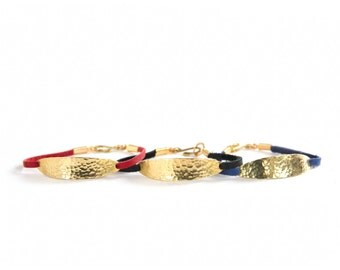 Aura Bracelet - textured brass and leather - As seen at Macy's