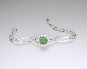 Sea Glass Jewelry - Sterling Green Half Sea Glass Marble Bracelet