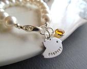 Kids Jewelry,Flower Girl Gifts,Flower Girl Bracelet,Pearl Bracelet,Personalized Children Name Bracelet,Birthstone, Bird, Big Sister Bracelet
