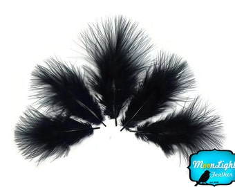 Down Feathers, 1/4 lb - BLACK Turkey Marabou Short Down Fluffy Loose Wholesale Feathers (bulk) : 3846