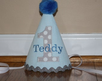 blue gray boys first birthday hat, boys 1st birthday hat, free personalization, cake smash outfit, boys hat, birthday hat, light blue stripe