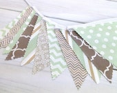 Bunting Fabric Banner, Fabric Flags, Nursery Decor, Birthday Decoration, Baby Shower - Light Green, Taupe, Tan, Chevron, Dots, Stripe