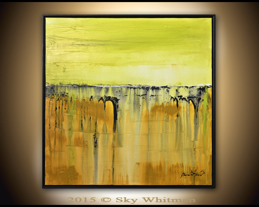 Framed Square Painting Original Abstract Art Modern Textured