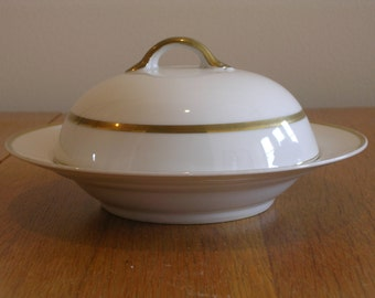 White and Gold Bordered Round Butter Dish by Noritake