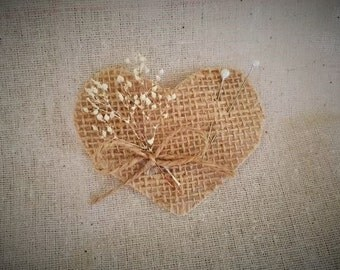 Burlap heart boutonniere with dried baby's breath and jute ribbon