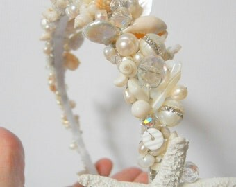 Hand beaded seashell headband with crystals and real freshwater pearls. FREE DOMESTIC SHIPPING