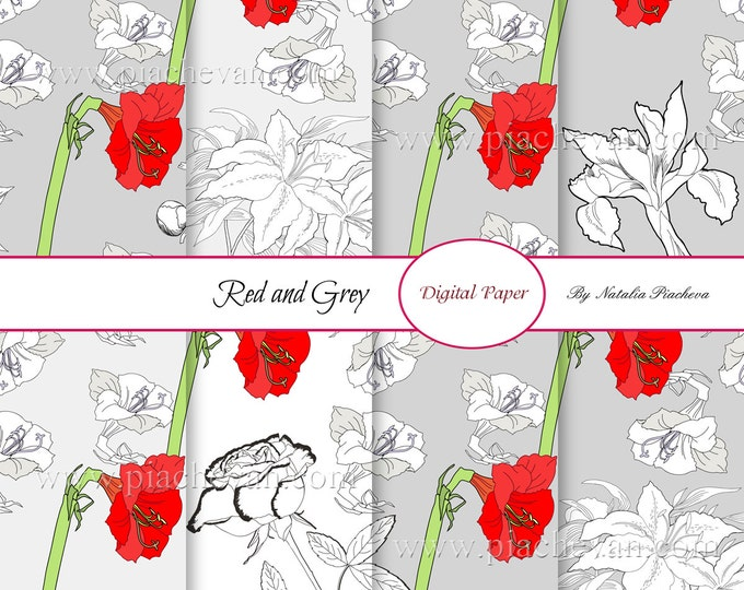 Digital Paper. Red and Grey, amaryllis, tulip, peony, digital paper, scrapbooking, bouquet, flowers, botanical, digital Sheet