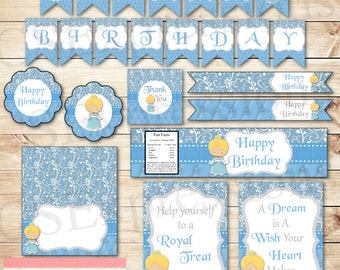 Little Blue Princess Birthday Printable Party Package