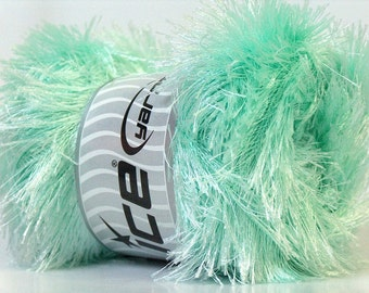 LG 100 gram Mint Green Eyelash Yarn Ice Fun Fur 164 Yards 22736