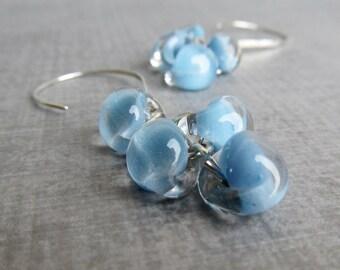 Maya Blue Earrings, Dangle Earrings, Blue Pastel Earrings, Boro Glass Earrings, Argentium Silver Earrings