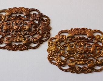 Oxidized Brass Oval Filigrees
