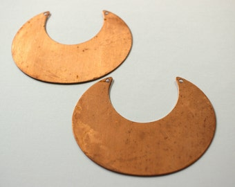 Copper Plated Steel Crescent Pendant Blank