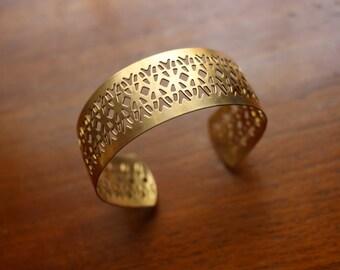 Vintage Oxidized Brass Filigree Cuff Bracelet Blank