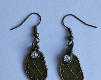 Brass Melting Clock Earrings With Crystal Embellishment