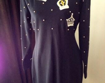 Vintage Jeweled  Beaded   Black Dress
