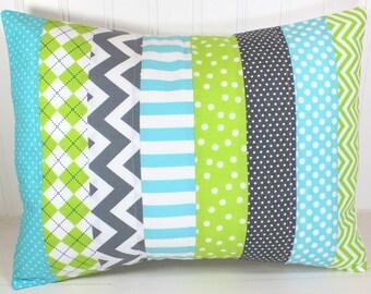 Pillow Cover, Unisex Nursery Decor, Patchwork Pillow Cover, Crib Bedding, 12 x 16 Inches, Aqua Blue, Gray, Grey, Lime Green, Chevron, Dot