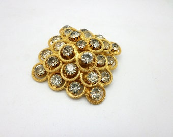 SALE Fancy Vintage Gold Tone Metal and Rhinestone Brooch Pin