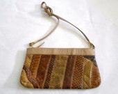 Vintage   Leather  and Reptile Skin patchwork Shoulder Bag  Clutch Purse Pocketbook Brown and TAN