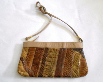 Vintage   Leather  and Reptile Skin patchwork Shoulder Bag  Clutch Purse Pocketbook Brown and TAN