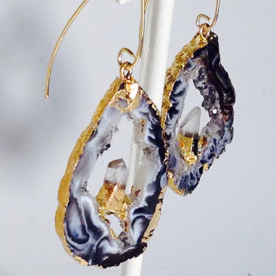 Karat Gold Fill Earrings With Agate