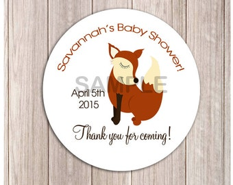 """Woodland Red Fox Personalized Baby Shower or Birthday Favor Stickers, Printable or Printed 2.5"""" Round"""