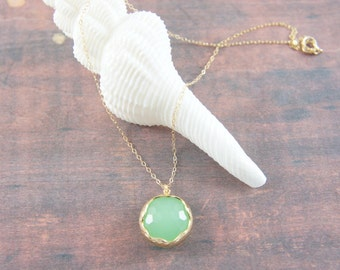 mint green round pendant necklace, wedding, bridesmaid, gift, sea foam green, gold, 14K gold filled, layered necklace