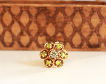 LABOR DAY SALE - Peridot Green Crystal Ring - Adjustable Ring