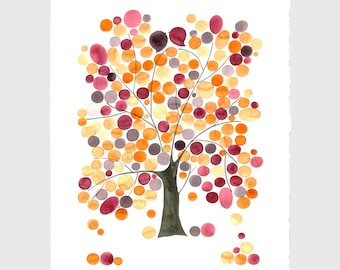 Annyversary Gift - MONGOLIAN OAK TREE - Giclee Art Print Reproduction of Watercolor Painting -Trees of Life Collection