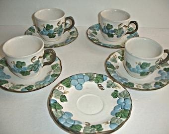 Metlox Poppytrail Teacups Coffee Cups Saucers  Sculptured Grape Pattern Set of 4 Cups 5 Saucers